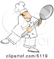 Caucasian Male Chef Carrying A Big Spoon Clipart