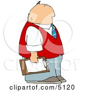 Caucasian Male Store Manager Holding A Clipboard Clipart