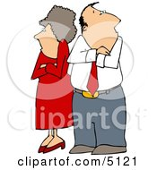Fighting Couple HusbandAmpWife Standing With Arms Crossed Clipart by Dennis Cox