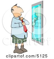 Man Putting Business Tie On In Front Of Mirror Clipart by djart