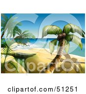 Clipart Illustration Of A Beautiful Tropical Beach Scene