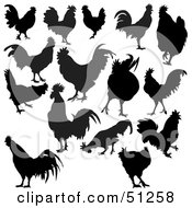 Royalty Free RF Clipart Illustration Of A Digital Collage Of Rooster Silhouettes by dero