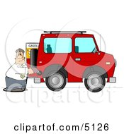 Man Filling His Car Up With Gas Clipart