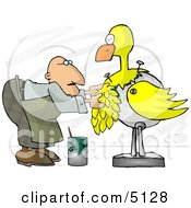 Male Taxidermist Working On A Big Yellow Bird Clipart