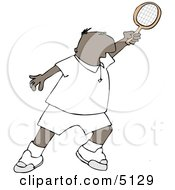 Ethnic Man Playing Tennis Clipart