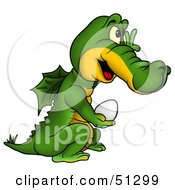 Royalty Free RF Clipart Illustration Of A Cute Dragon Carrying An Egg