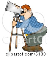 Man Looking Through A Telescope Clipart by djart
