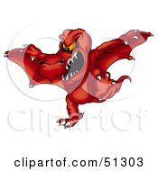 Royalty Free RF Clipart Illustration Of A Mean Flying Dragon Version 2 by dero