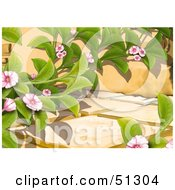 Clipart Illustration Of A Creeping Plant With Pink Blooms On A Stone Path by dero