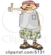Scary Looking Man Hitchhiking Clipart