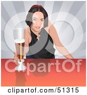 Royalty Free RF Clipart Illustration Of A Pretty Bar Maid Serving A Beer