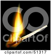 Burning Match With A Yellow Flame