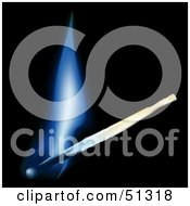 Royalty Free RF Clipart Illustration Of A Burning Match With A Blue Flame