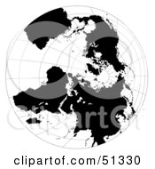 Royalty Free RF Clipart Illustration Of A Black And White Globe With Grids by dero