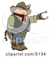 Cowboy Playing Horseshoe Game Clipart