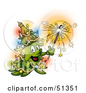 Royalty Free RF Clipart Illustration Of A Happy Christmas Tree Holding A Sparkler