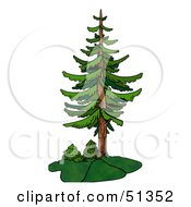 Clipart Illustration Of A Tall Evergreen by dero