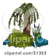 Clipart Illustration Of A Small Weeping Willow by dero