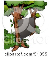 Clipart Illustration Of A Blank Board Posted On Two Trees by dero