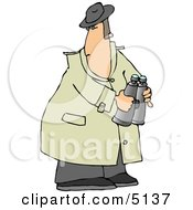 Male Spy Wearing A Trench Coat And Holding Binoculars