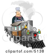 Male Train Engineer Driving And Operating A Train Clipart