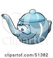 Royalty Free RF Clipart Illustration Of A Friendly Blue Teapot