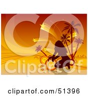 Royalty Free RF Clipart Illustration Of A Silhouetted Woman With Circles Palm Trees And Shooting Stars On Orange by dero