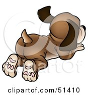 Royalty Free RF Clipart Illustration Of A Dog Wagging Its Tail From Behind