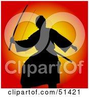Silhouetted Samurai On Orange