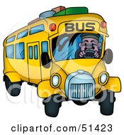 Royalty Free RF Clipart Illustration Of A Bus Driver Turning His Bus