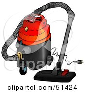 Royalty Free RF Clipart Illustration Of A Working Canister Vacuum