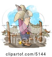 Texas Rancher Man Standing Beside Fenced In Cattle Clipart