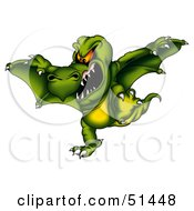 Royalty Free RF Clipart Illustration Of A Mean Flying Dragon Version 1 by dero