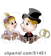 Royalty Free RF Clipart Illustration Of A Cute Bride And Groom Sitting by dero