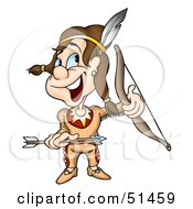Royalty Free RF Clipart Illustration Of A Little Native American Version 2