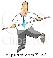 Conceptual Businessman Balancing On A Tightrope Clipart