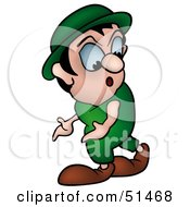 Royalty Free RF Clipart Illustration Of A Walking Gnome Looking Back by dero