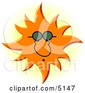 Conceptual Sun Wearing UV Protective Sunglasses Clipart