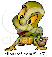 Royalty Free RF Clipart Illustration Of A Curious Green Caterpillar by dero