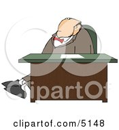 Businessman Stretching Legs Behind Office Desk Clipart