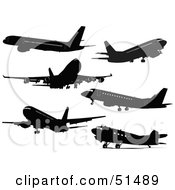 Royalty Free RF Clipart Illustration Of A Digital Collage Of Commercial Airliner Silhouettes