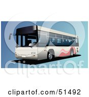 Royalty Free RF Clipart Illustration Of A Public Bus On Blue by leonid