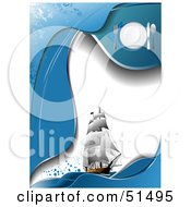 Royalty Free RF Clipart Illustration Of A Sailing Ship Diner Menu With Place Settings