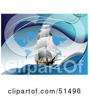 Royalty Free RF Clipart Illustration Of A Sailing Ship On Blue With Continents