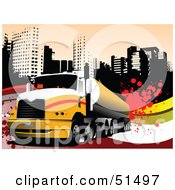 Royalty Free RF Clipart Illustration Of A Big Rig Truck On A Grungy Urban Background by leonid #COLLC51497-0100