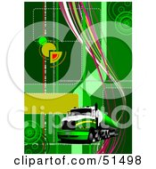 Royalty Free RF Clipart Illustration Of A Big Rig Truck On A Green Background With Circles And Waves