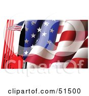 Royalty Free RF Clipart Illustration Of A Flag Atop A City Building On A Wavy American Flag Background by leonid