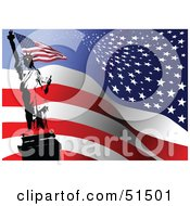 Royalty Free RF Clipart Illustration Of The Statue Of Liberty Holding A Flag On A Wavy American Flag Background by leonid