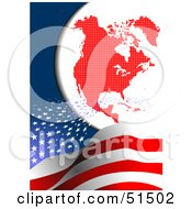 Royalty Free RF Clipart Illustration Of Stars Swooshing Over Stripes Towards A Red North American Continent
