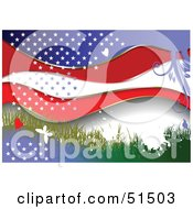 Royalty Free RF Clipart Illustration Of A Grungy American Background With Butterflies Grass Stars And Waves by leonid